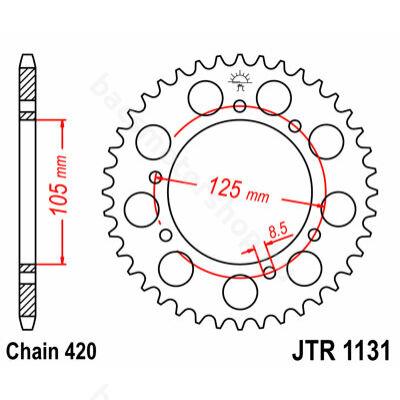 JT hátsó lánckerék (Derbi Senda EBE/EBS - Piaggio D50B - Minarelli AM6 - 420 - 53 fog)