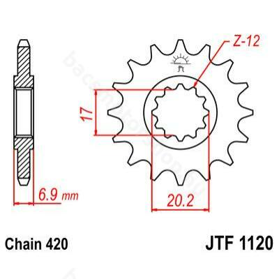JT első lánckerék (Minarelli AM6 - 420 - 12 fog)
