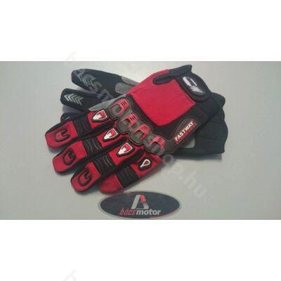 Kesztyű  fekete-piros textil (L-es méret)