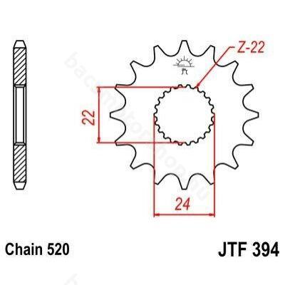 JT első lánckerék ( Rotax 122 / Rotax 123 - 520 - 15 fog )