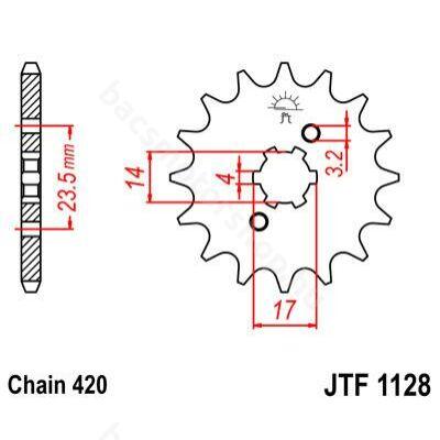 JT első lánckerék ( Aprilia / Derbi - Piaggio D50B - 420 - 14 fog )
