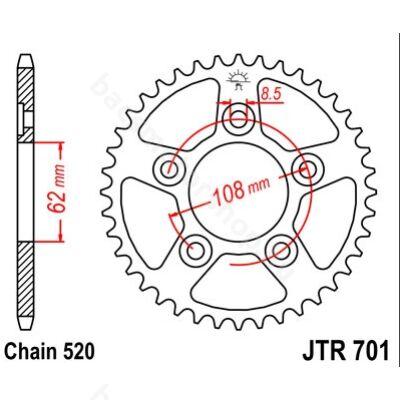 Hátsó lánckerék JTR701.40